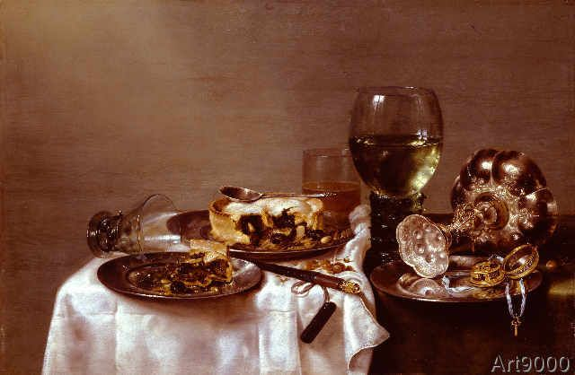 Willem Claesz. Heda - A breakfast table with a blackberry pie