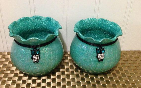 Owl Room Decor/ Aquamarine Candles/ Owl by CreativeGlassByBecky