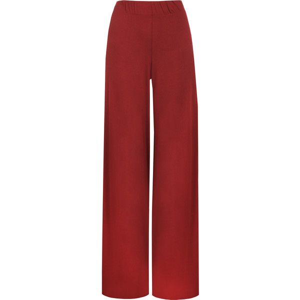 WearAll Wide Leg Palazzo Trousers Wine ($18) ❤ liked on Polyvore featuring pants, bottoms, wine, red flare pants, women's plus size pants, palazzo pants, plus size palazzo pants and flared pants
