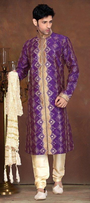 12839, Kurta Pyjamas, Jacquard, Raw Dupion Silk, Cut Dana, Patch, Thread, Stone, Purple and Violet Color Family