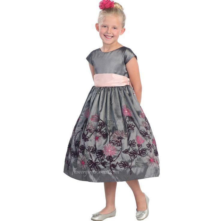 Taffeta Flower Girl Dress Silver