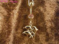 Bauchnabel Piercing Delfine 24 Karat Gold Steine Rosa Tier Meer Ozean Wasser