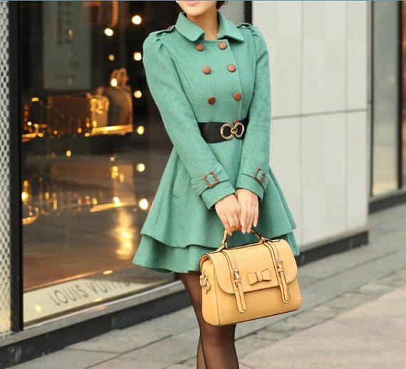Mint green princess coat.. Adorable..