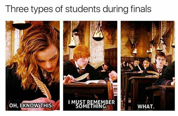 I'm usually Hermione during tests unless I either wasn't at school when we learned the answer to the question or I didn't get enough sleep and I can't remember the answer.