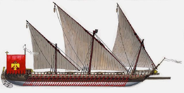 Byzantine warship that employed both sails and oars. A typical 10th-century dromon had two banks of oars employing 200 rowers.