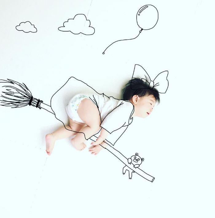 寝相アートに新ジャンル?インスタママが描く「寝相らくがきアート」の世界観が、好き♡の画像2