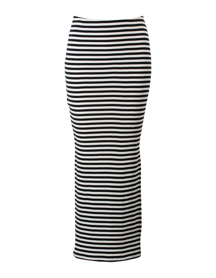 Zwarte-wit gestreepte maxi rok met elastiek in de taille. #missetam