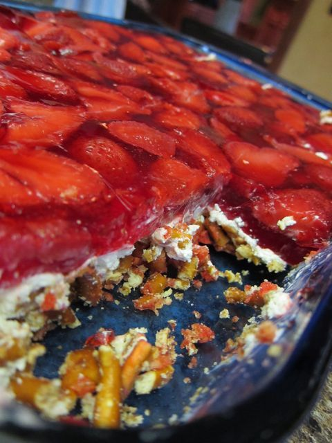 Strawberry Pretzel Salad ~ The pretzel crust along with the cream cheese and strawberries offers a sweet and savory mixture that is SURE to please everyone in your family and there are NEVER leftovers of this!