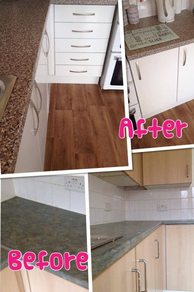 Before and After Pictures of one of our completed Kitchens. Units: High Gloss White  Worktop: Beige Granite  Handles: Matt Bow  Floor: Cajou Sun