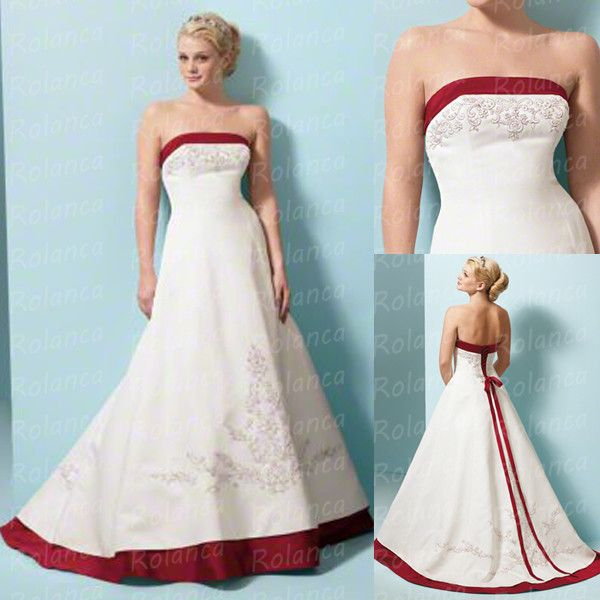 2014 Latest Fashion Wedding Dresses With Red Accents Rolanca Cxc 1067