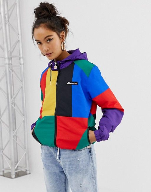 Ellesse hooded jacket with chest logo in color block