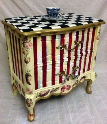 Whimsical Painted Furniture | Whimsical Hp Nightstand/end Table With Mackenzie Childs Courtly Check ...