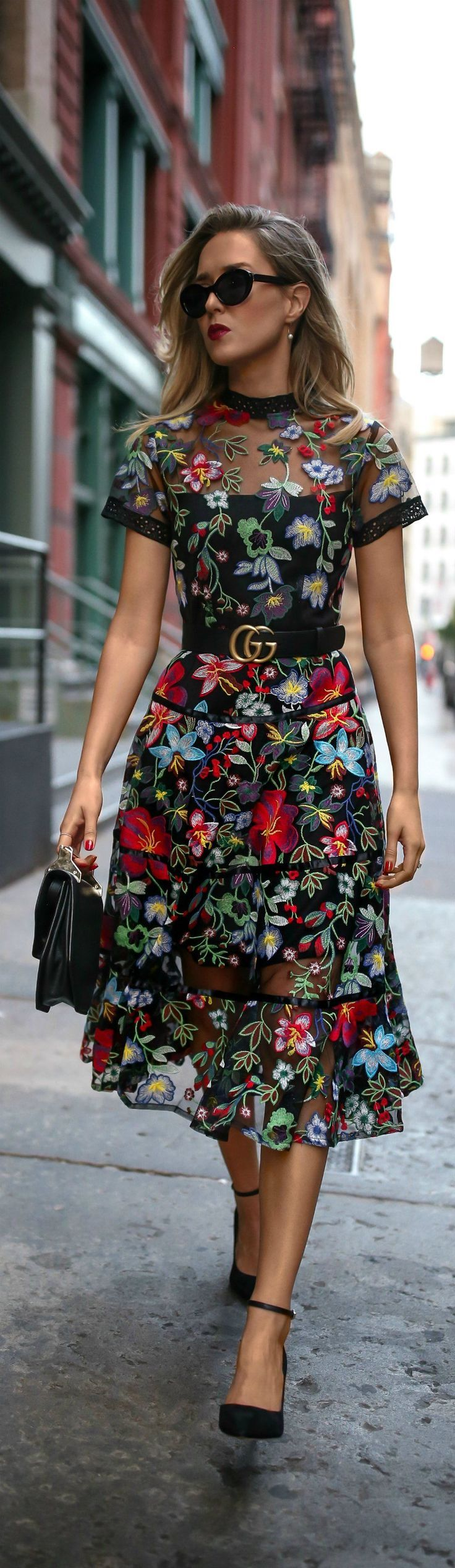 Trend Memo Day 6: Fall Florals // Floral embroidered midi dress, leather waist belt, ankle strap pumps, mini shoulder bag, cat eye sunglasses, pearl drop earrings Anthropologie, Gucci, Sam Edelman, Marc Jacobs