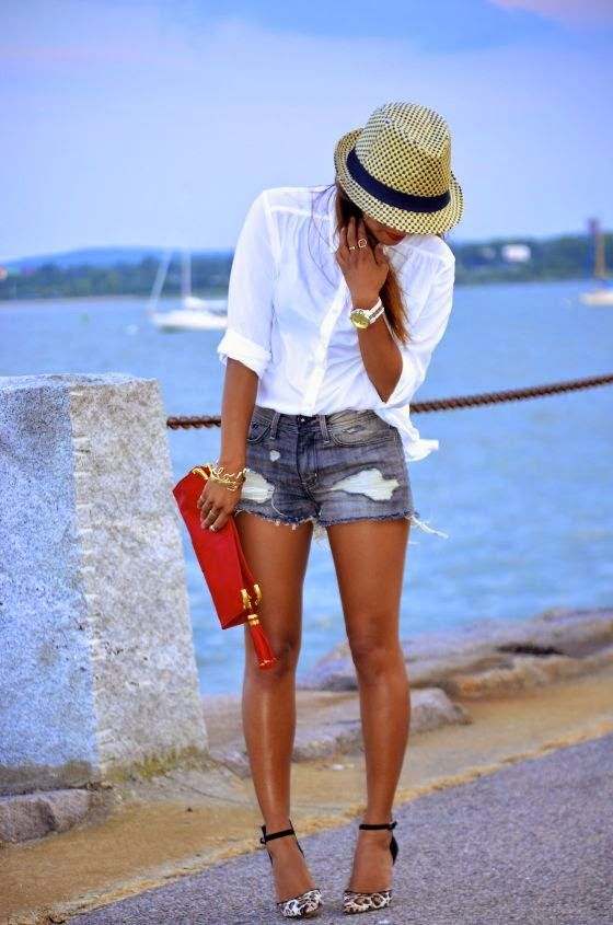crisp white shirt, fedora, cutoffs