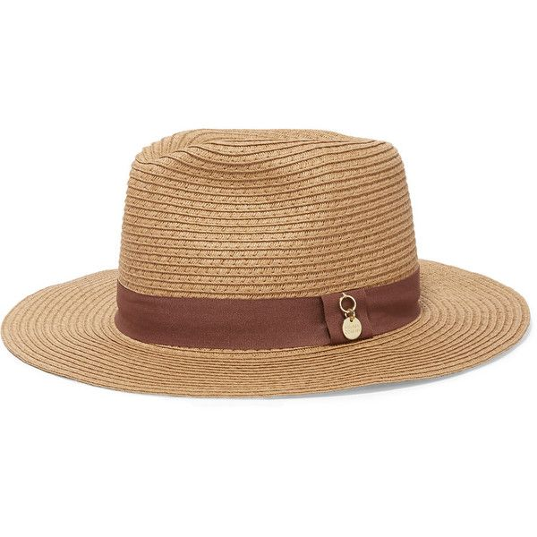 Melissa Odabash Grosgrain-trimmed woven paper fedora (49.040 CLP) ❤ liked on Polyvore featuring accessories, hats, sand, paper fedora, melissa odabash hats, paper braid hat, woven hat and fedora hat