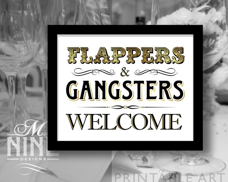 "Gold Party Printable ""Flappers & Gangsters Welcome"" Party Sign Typography Print, Party Décor, Roaring 20s Party BWG46 by MNINEPrintables on Etsy"