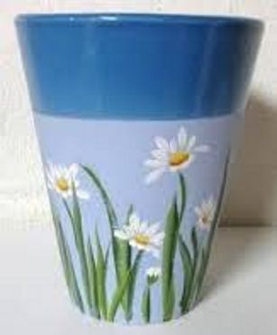 hand painted daisies flower pot