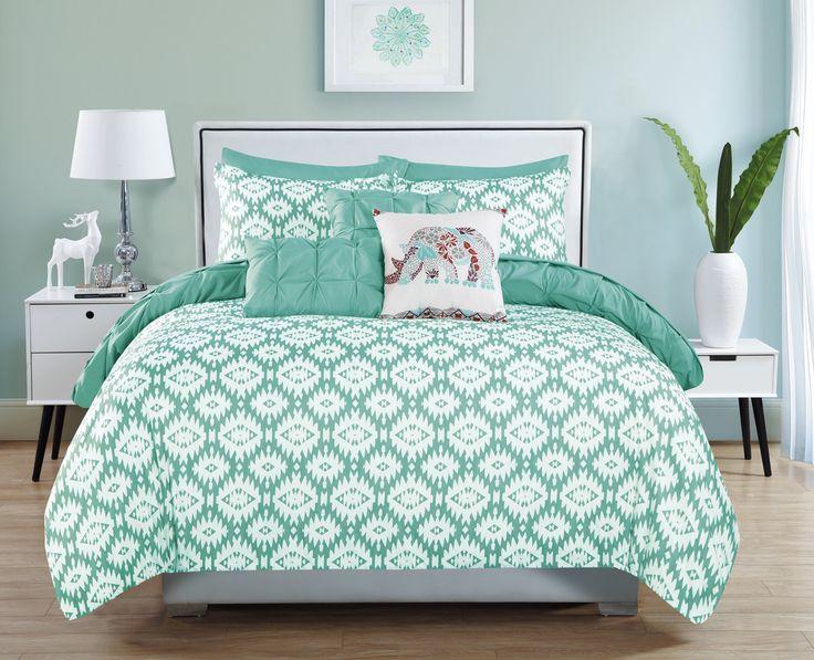 Huber 10 Piece Reversible Aqua Comforter Set