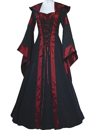 Black and bordeaux gown by Dornbluth