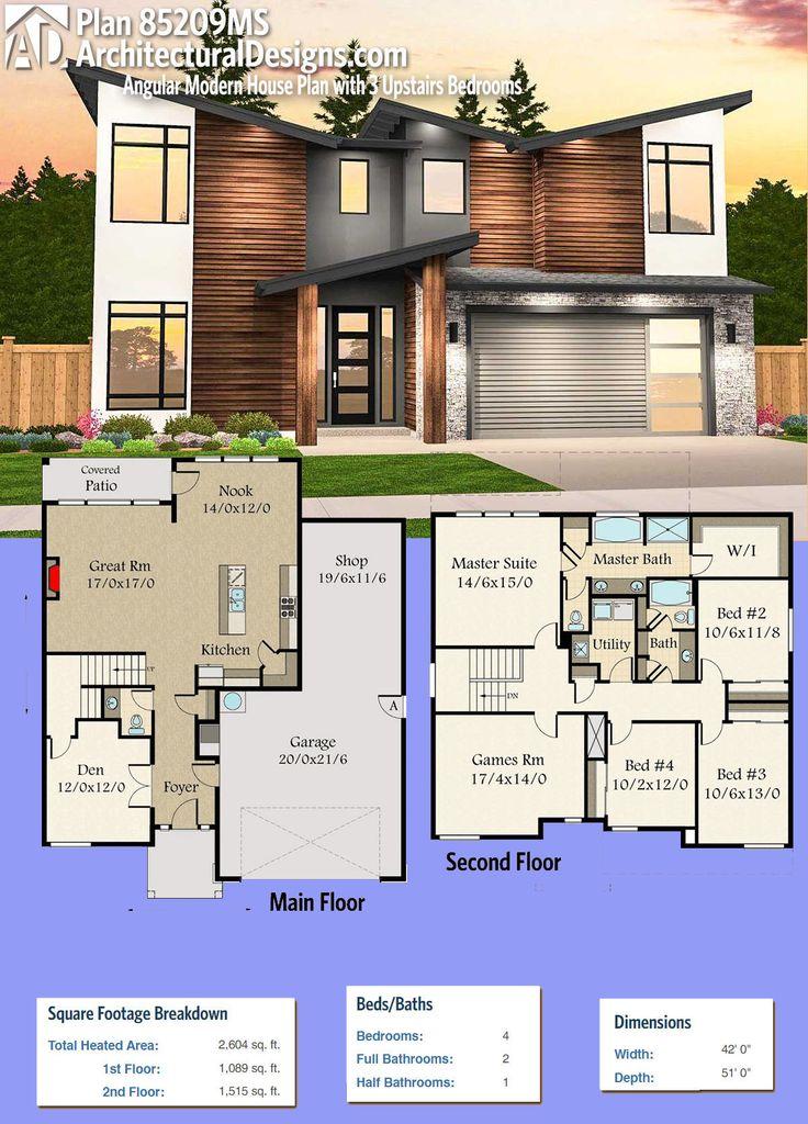 Plan 85209ms angular modern house plan with 3 upstairs for Modern upstairs house plans
