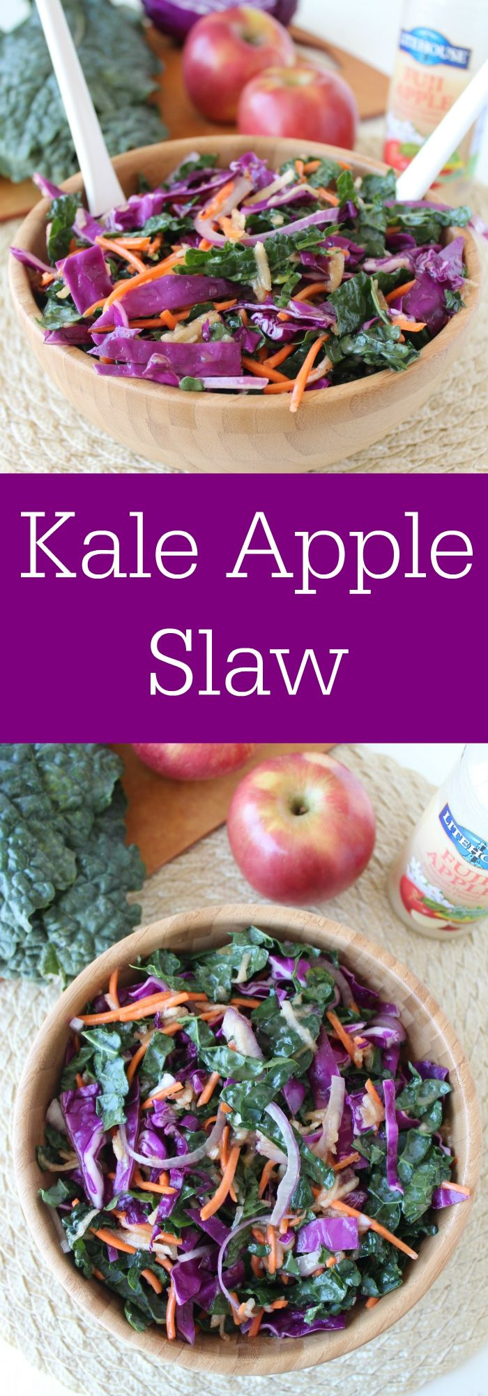 Vegan & Gluten Free Kale Apple Slaw Recipe - perfect as a side dish or on top of tacos or sandwiches!