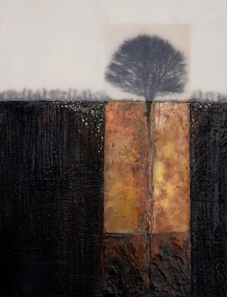 Collage.- Beneath The Surface ~ artist Erna de Vries. Encaustic, copper and photo transfer, 12x16 inches