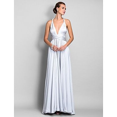 A-line Straps Floor-length Satin Chiffon Evening Dress – USD $ 99.99