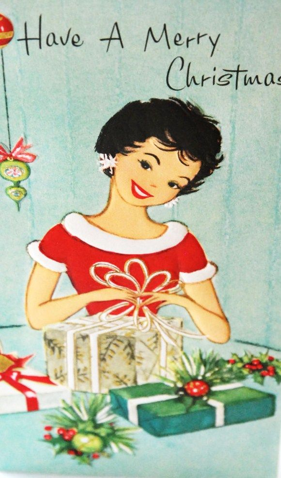 Vintage Christmas Card--I love this haircut! She reminds me of my Mother! :)