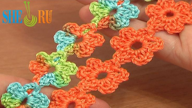 Crochet Floral Cord Lace Tutorial 51 Small Six-Petal Flowers Easy crochet flower Free Pattern Tutorial ♡ Teresa Restegui http://www.pinterest.com/teretegui/ ♡