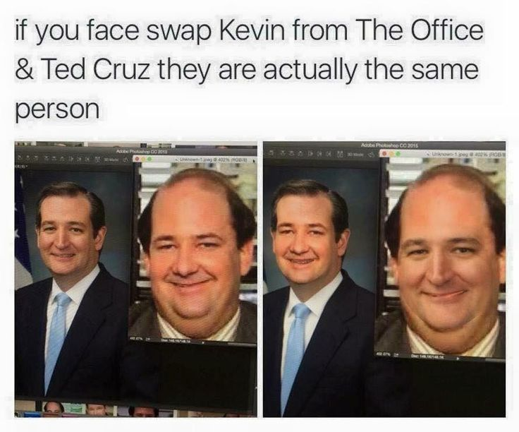 Kevin from The Office and Ted Cruz face swap. Haha