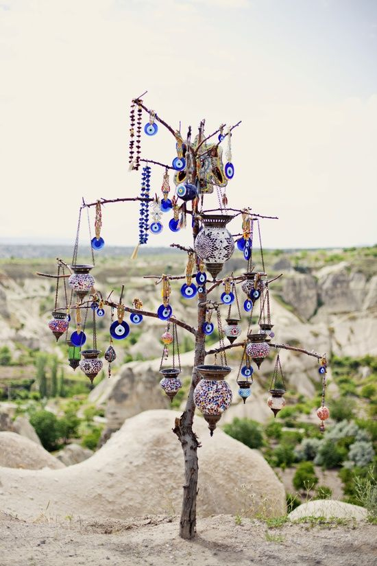 Evil eye tree in Goreme, Turkey