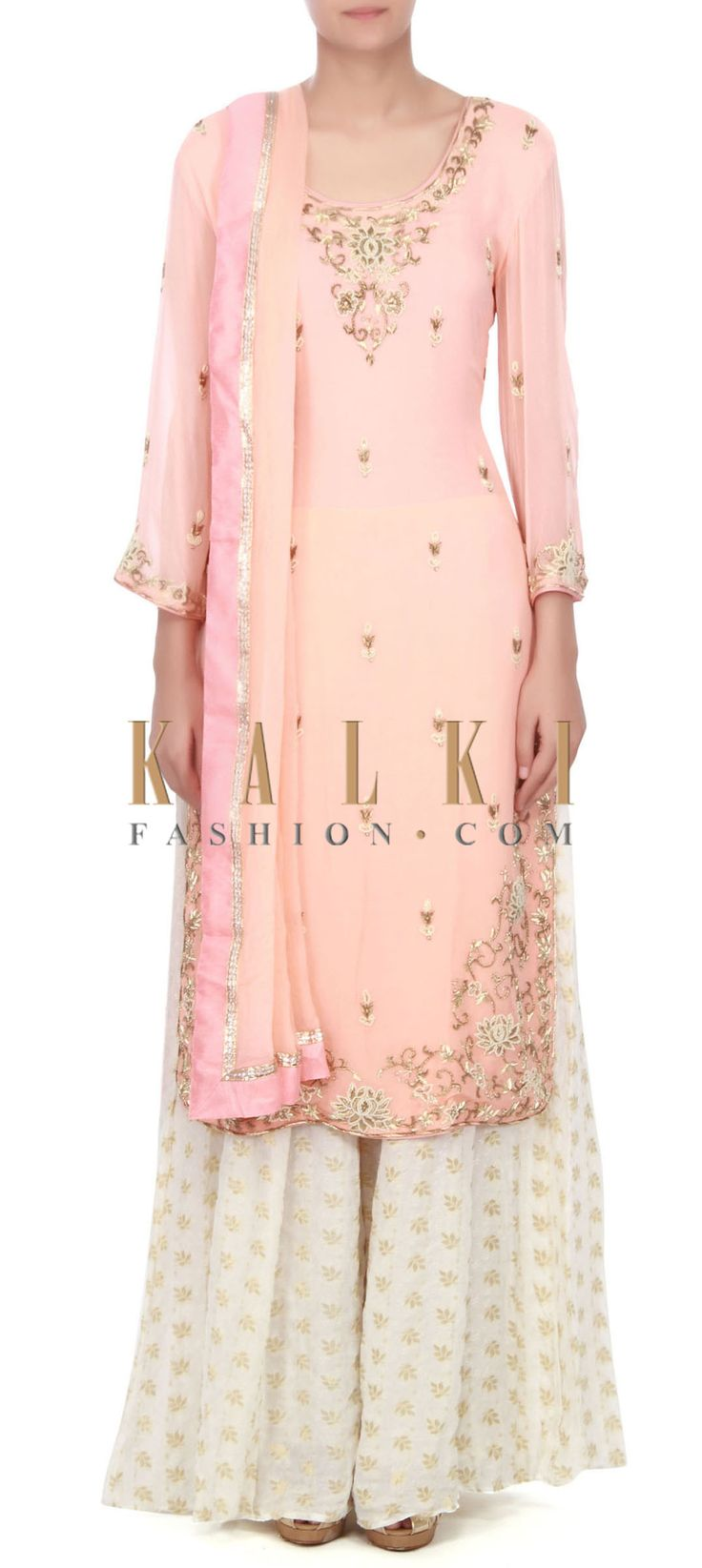 Buy this Pink straight suit adorn in pearl and zardosi only on Kalki