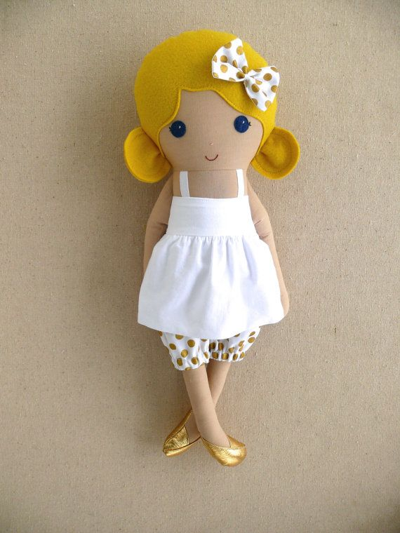 Reserved for Morgan Fabric Doll Rag Doll Blond by rovingovine