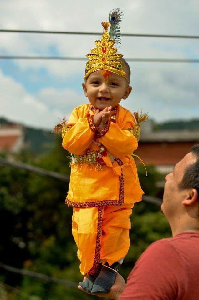 A Nepali child on Shree Krishna Ashtami festival