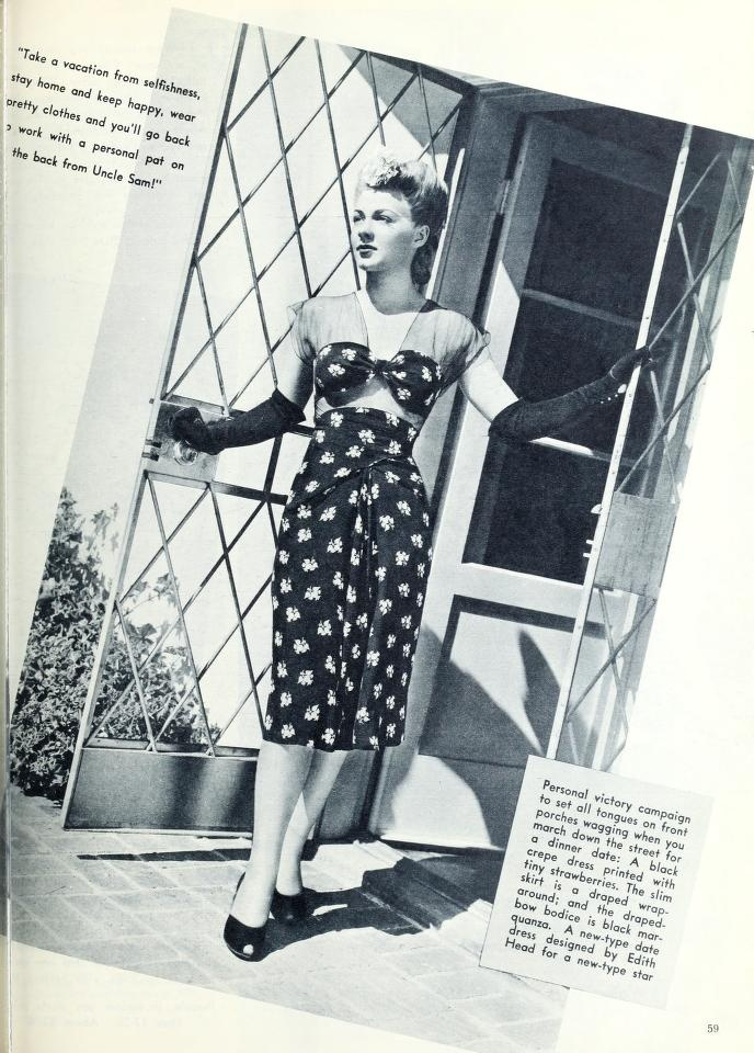 black crepe dress printed with tiny strawberries, designed by Edith Head, 1943
