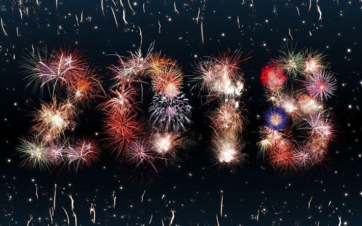 Télécharger fonds d'écran 2018 Nouvelle Année, les feux d'artifice, des lumières, des concepts, 2018 Année