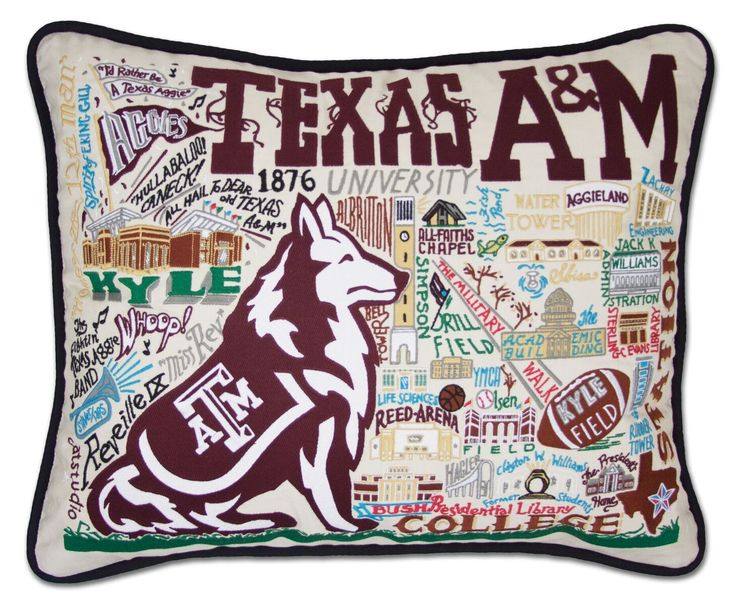 This original design celebrates the Texas A&M University. Gig'em Aggies! This pillow is entirely HAND embroidered on light tea-colored 100% organic cotton. Amazingly it can take up to one week to embr
