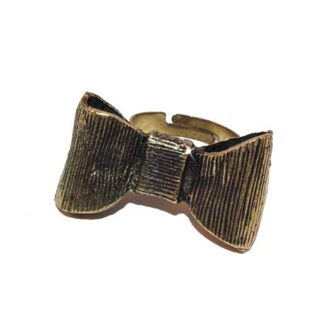 Ancient Golden Tone Adjustable Ribbon Ring