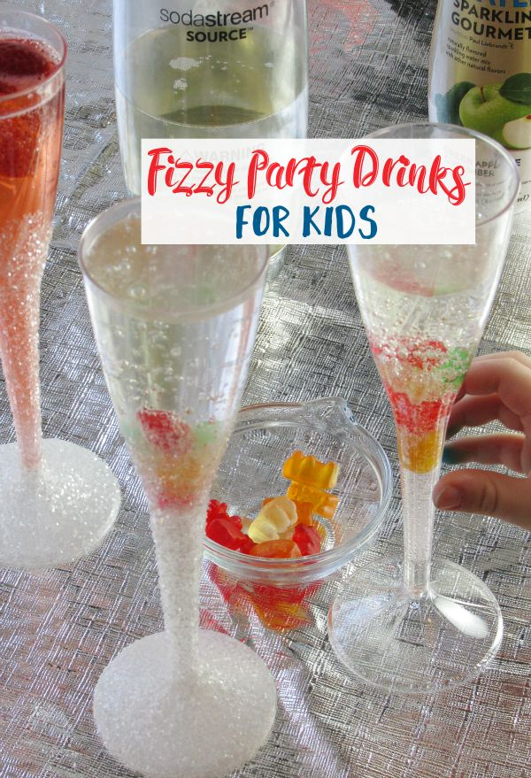 Fizzy Party Drinks are not just for adults! We're sharing a great way to involve the kids in a better-for-you way and fun glittery glass tutorial!