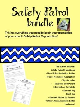 This has everything you need to begin your sponsorship of your school's Safety Patrol Organization!This bundle includes:- Safety Patrol Handbook- New Patrol Invitation Letter- Patrol Nominees Application- Sign-in roster- Students and Parent Information Template- Demerit log- Merit log- Demerit Notice to Parents- Officer Announcement Letterand more!All except the handbook are in Word format so they are easily edited.