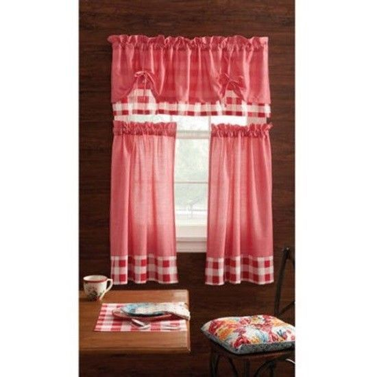 Pioneer Woman Charming Check Red Kitchen Curtain And Valance 3 PC Set Country  #THEPIONEERWOMAN #Country