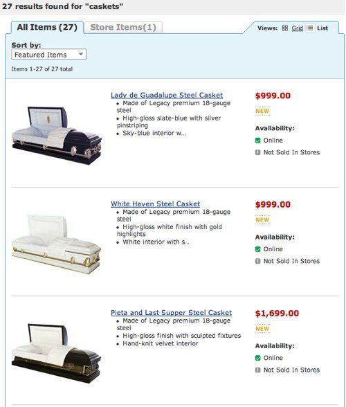 Walmart Caskets For Sale Online, Starting At $999 (PHOTOS)