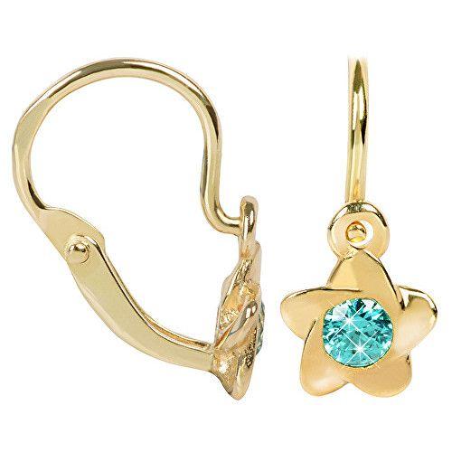 Brilio Cercei de aur pentru copii cu cristale turcoaz 236 001 00 937-.85 g
