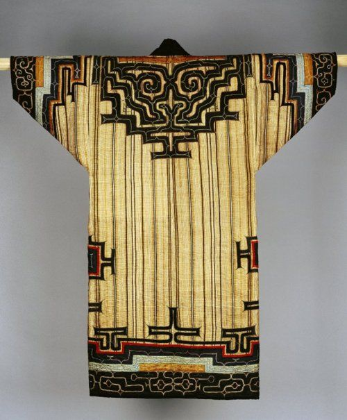 Embroidered coat made of textile (bark), cloth (silk). Ainu. Made in Sakhalin, Siberia.