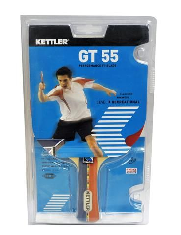 KETTLER GT55 PING PONG PADDLE  Features: Pips in performance rubber with 1.5 mm sponge Concave handle-ergo grip with 5-ply shakehand design Speed:40% Spin: 50% Control: 70%  Check out our sports equipment here: https://shopspokesandsports.com/collections/ping-pong/products/kettler-gt55-ping-pong-paddle