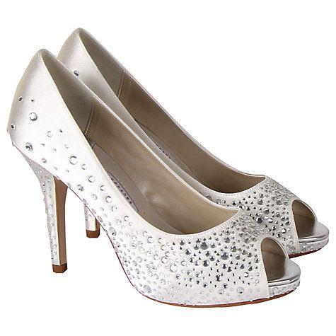 Buy Rainbow Club Orvietto Diamanté Satin Platform Peep-Toe Court Shoes, Ivory Online at johnlewis.com