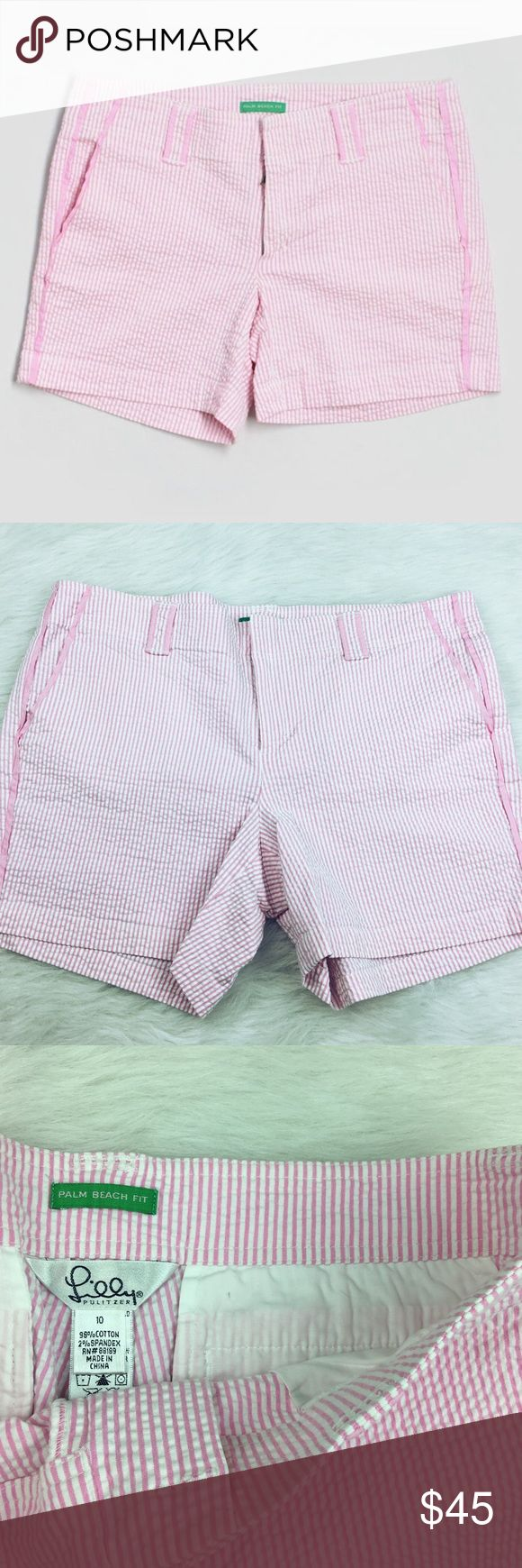 Lilly Pulitzer palm beach pink seersucker shorts Size 10. Excellent preowned condition. Like new! So adorable! Lilly Pulitzer palm beach pink seersucker shorts. Lilly Pulitzer Shorts