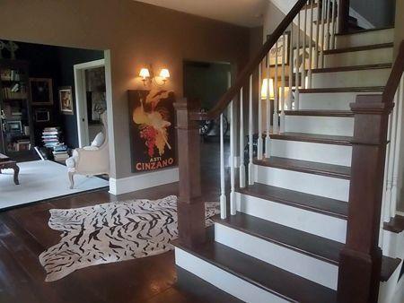 QVC Host Shawn Killinger--black living room, zebra rug
