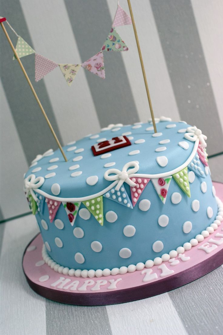 Cath Kidston Style 21st Birthday Cake - Bakealous
