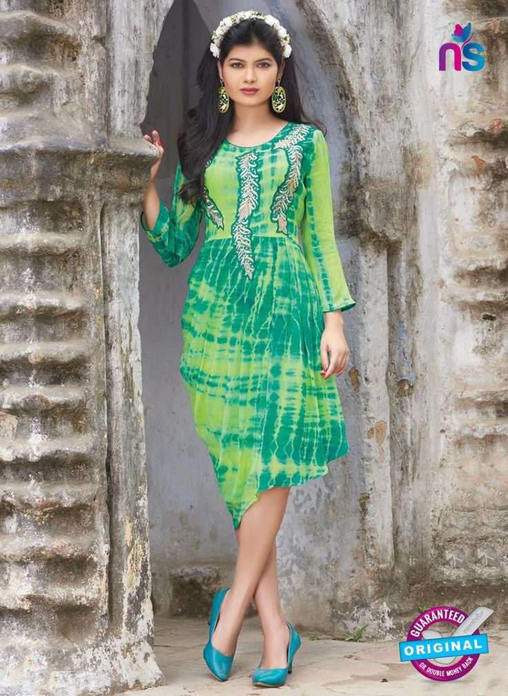 SC 12390 Green and Light Green Pure Georgette Party Wear Tunic